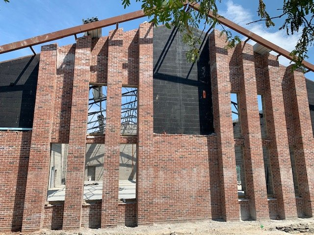 Photo of the west end brick construction